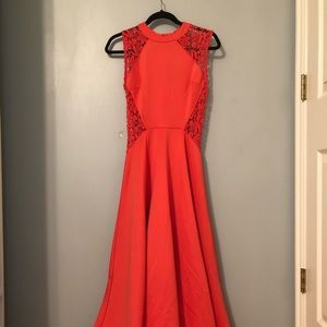 Coral Floor Length Dress with Cutout Detail